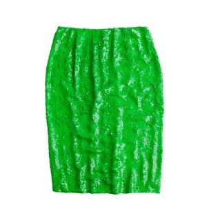 jcrew green sequin skirt