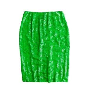 jcrew green sequin skirt